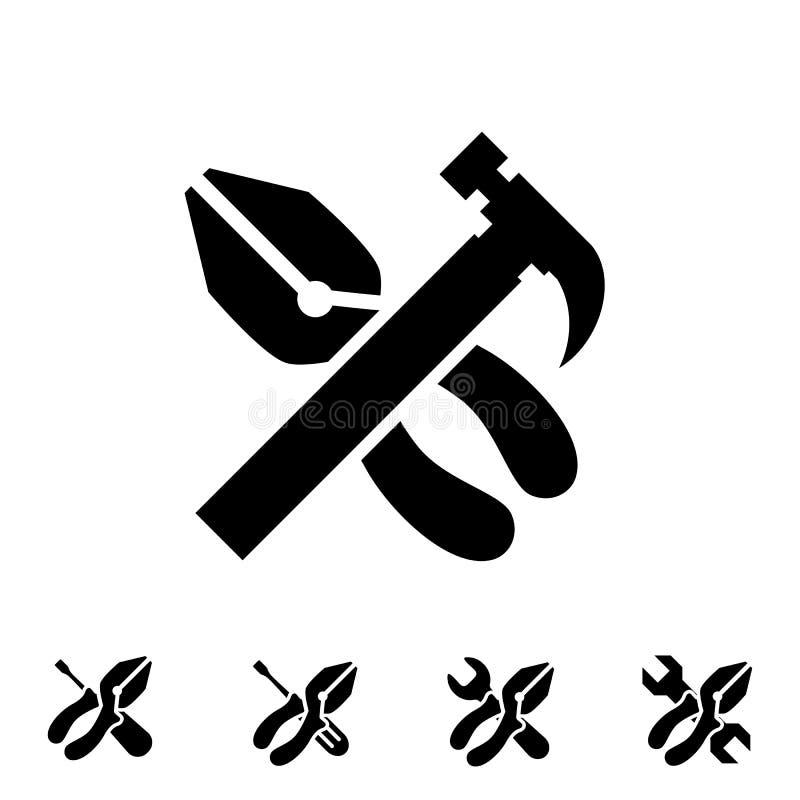 Preste serviços de manutenção a ícones da ferramenta com o hummer ilustração royalty free