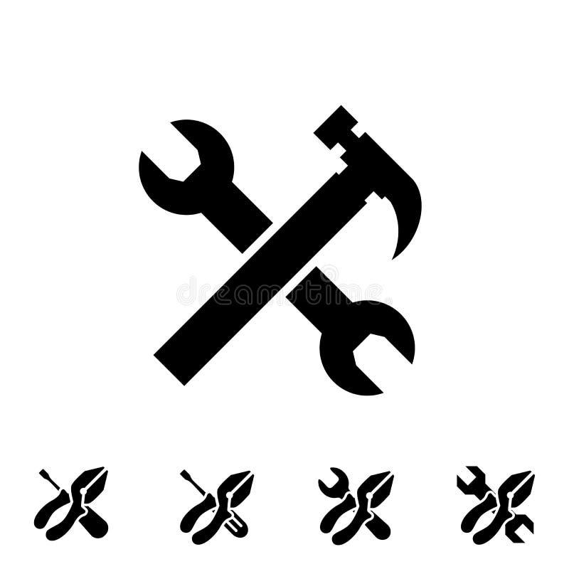 Preste serviços de manutenção a ícones da ferramenta com o hummer ilustração stock