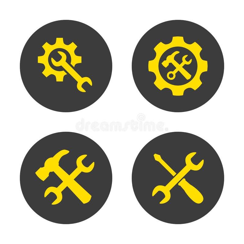 Preste serviços de manutenção a ícones da ferramenta no fundo branco ilustração do vetor