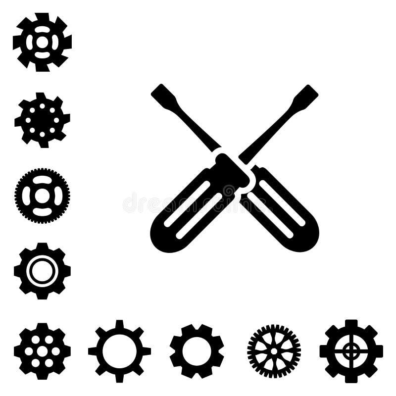 Preste serviços de manutenção a ícones das ferramentas ilustração royalty free