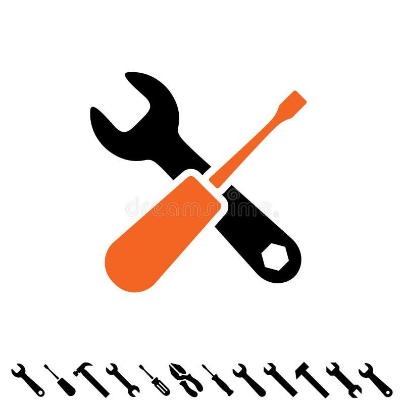 Preste serviços de manutenção a ícones das ferramentas ilustração do vetor