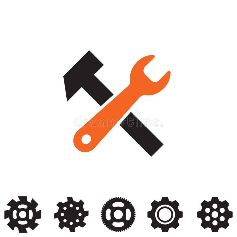 Preste serviços de manutenção a ícones das ferramentas ilustração stock