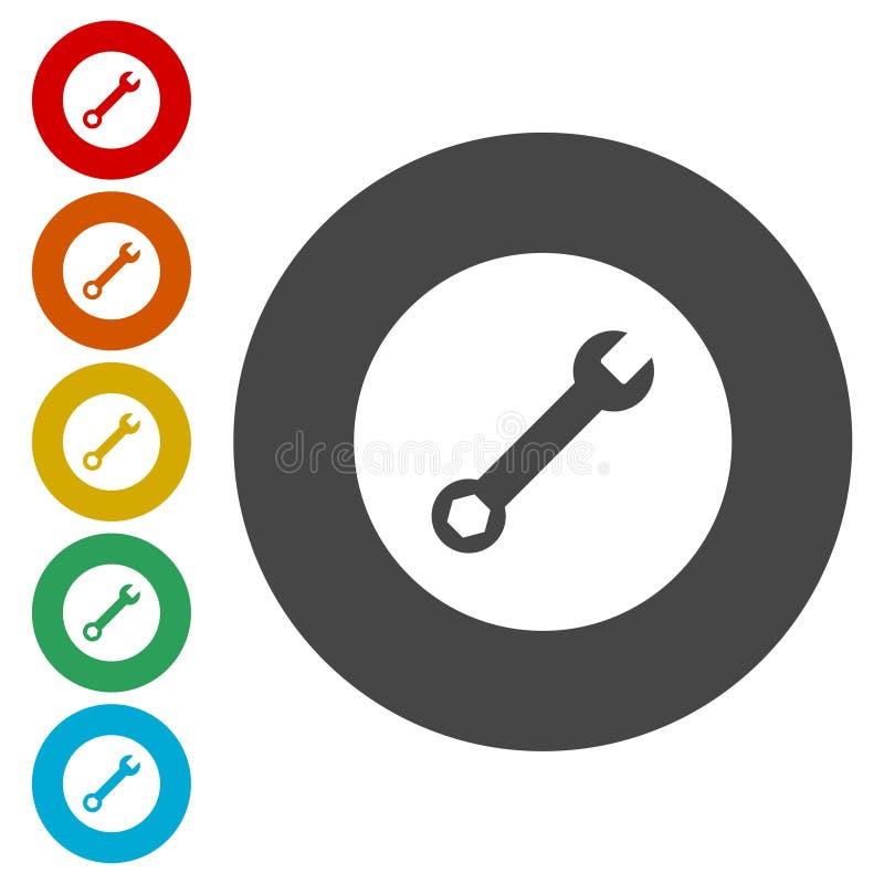 Preste serviços de manutenção ao ícone da ferramenta, ícone da chave ilustração do vetor