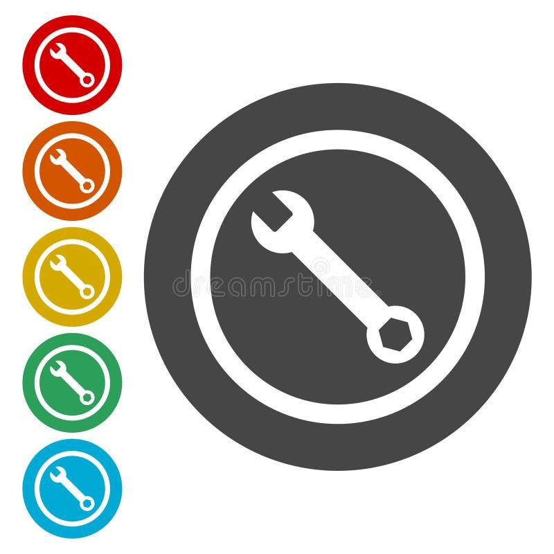 Preste serviços de manutenção ao ícone da ferramenta, ícone da chave ilustração stock