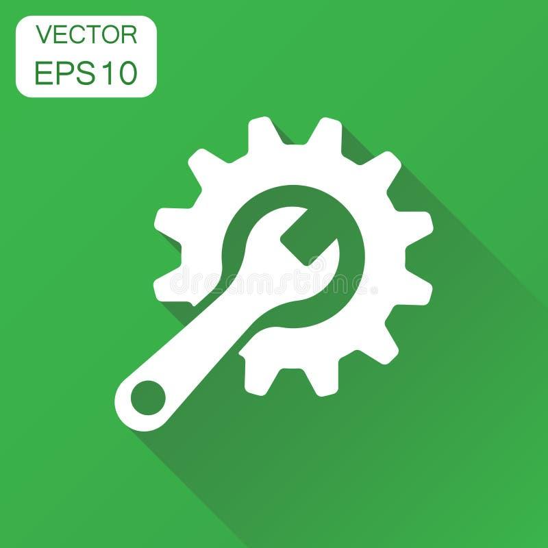 Preste serviços de manutenção ao ícone das ferramentas Roda denteada do conceito do negócio com símbolo da chave ilustração royalty free