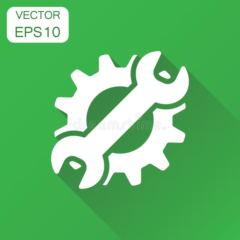 Preste serviços de manutenção ao ícone das ferramentas Roda denteada do conceito do negócio com símbolo da chave ilustração do vetor