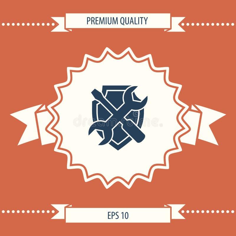 Preste serviços de manutenção ao ícone do símbolo - protetor com chave de fenda e chave ilustração royalty free