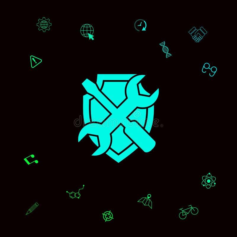 Preste serviços de manutenção ao ícone do símbolo - protetor com chave de fenda e chave Elementos gráficos para seu designt ilustração do vetor