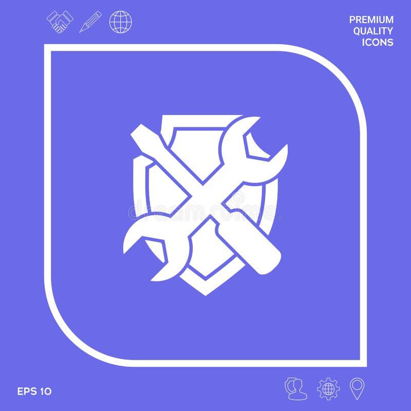 Preste serviços de manutenção ao ícone do símbolo - protetor com chave de fenda e chave Elementos gráficos para seu projeto ilustração do vetor