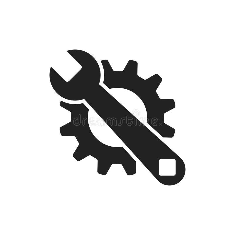 Preste serviços de manutenção ao ícone liso do vetor das ferramentas Roda denteada com logotipo do símbolo da chave ilustração do vetor