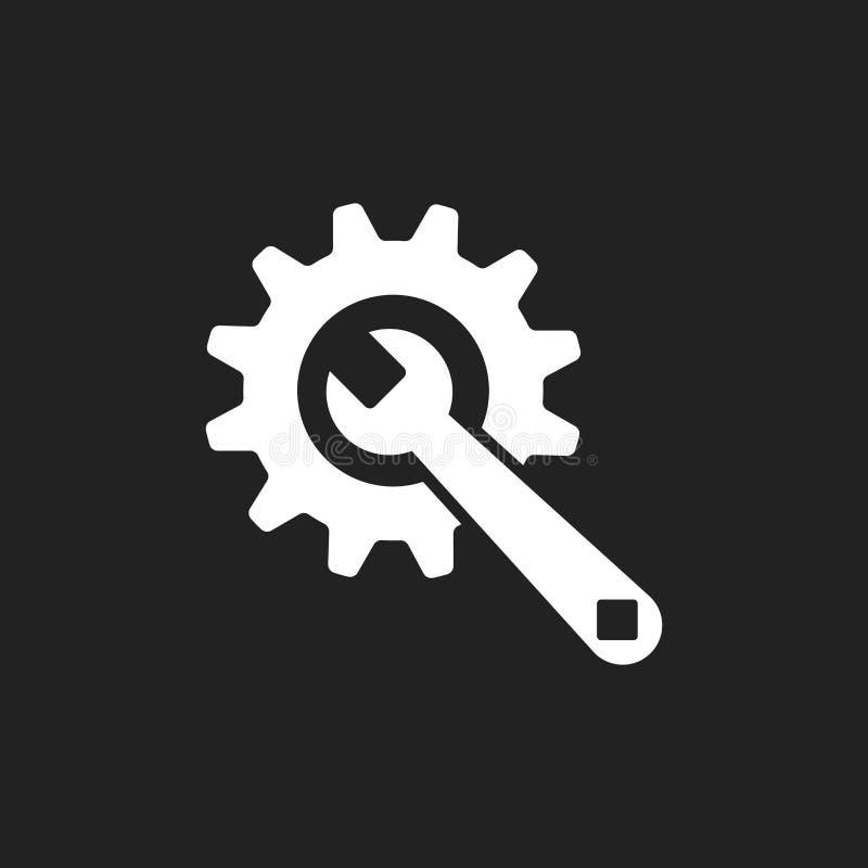 Preste serviços de manutenção ao ícone liso do vetor das ferramentas Roda denteada com logotipo do símbolo da chave ilustração stock