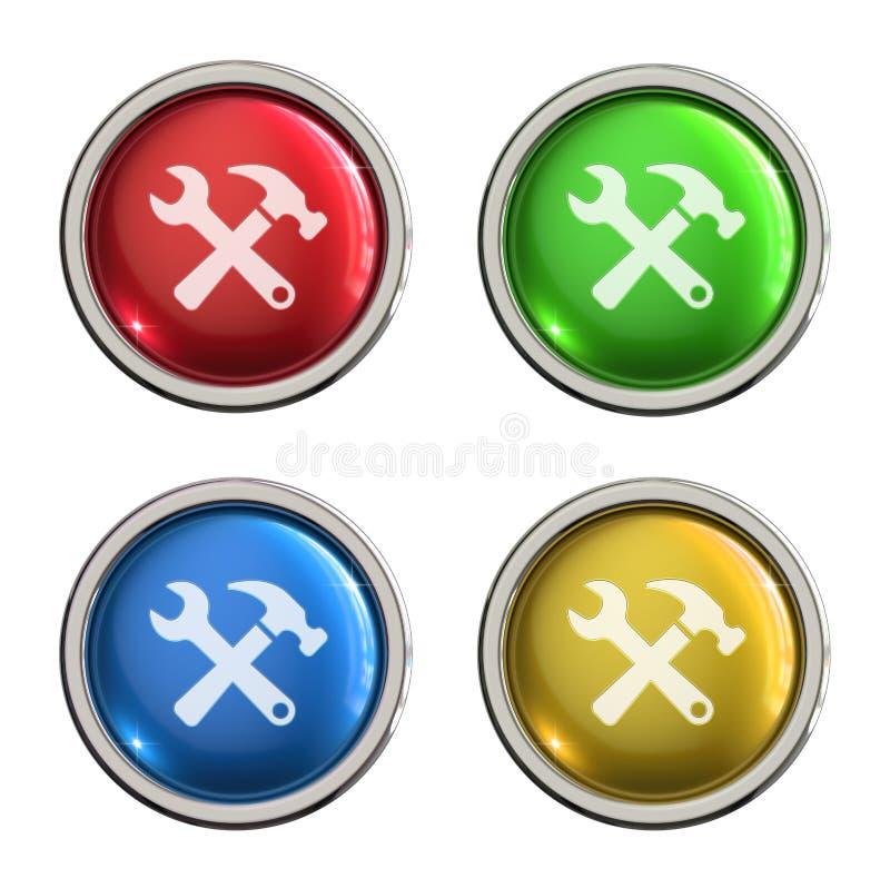 Preste serviços de manutenção ao botão do vidro do ícone ilustração do vetor