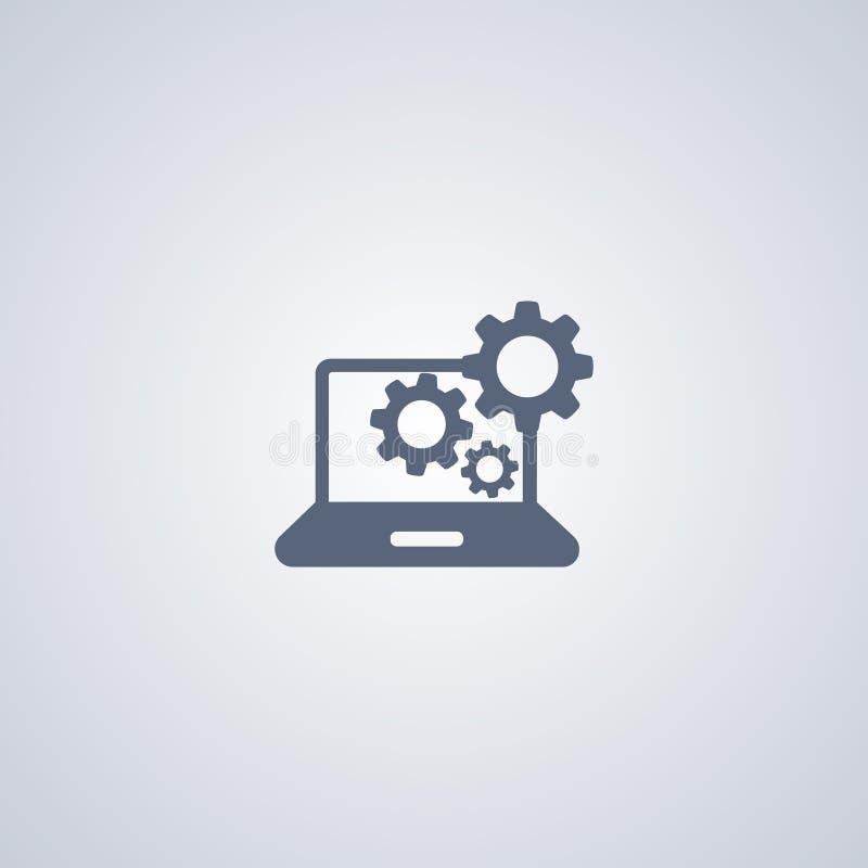 Preste serviços de manutenção ao caderno, centro de apoio, vector o melhor ícone liso ilustração stock