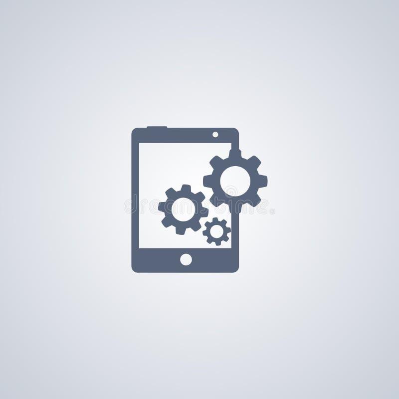 Preste serviços de manutenção ao dispositivo, centro de apoio, vector o melhor ícone liso ilustração stock