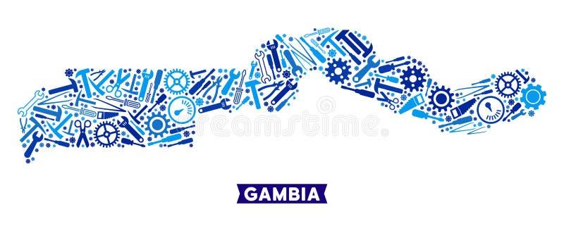 Preste serviços de manutenção ao mosaico do mapa de Gâmbia ilustração do vetor