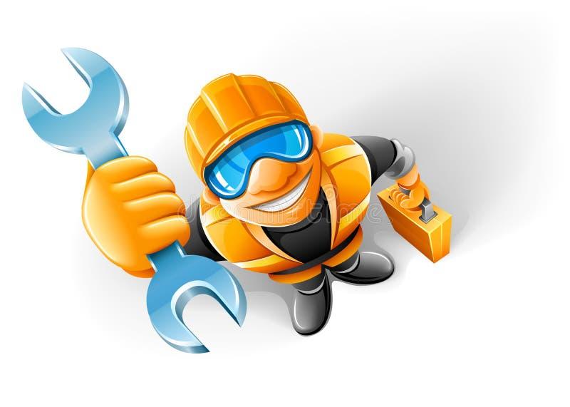 Preste serviços de manutenção ao trabalhador do homem com a chave no braço ilustração royalty free