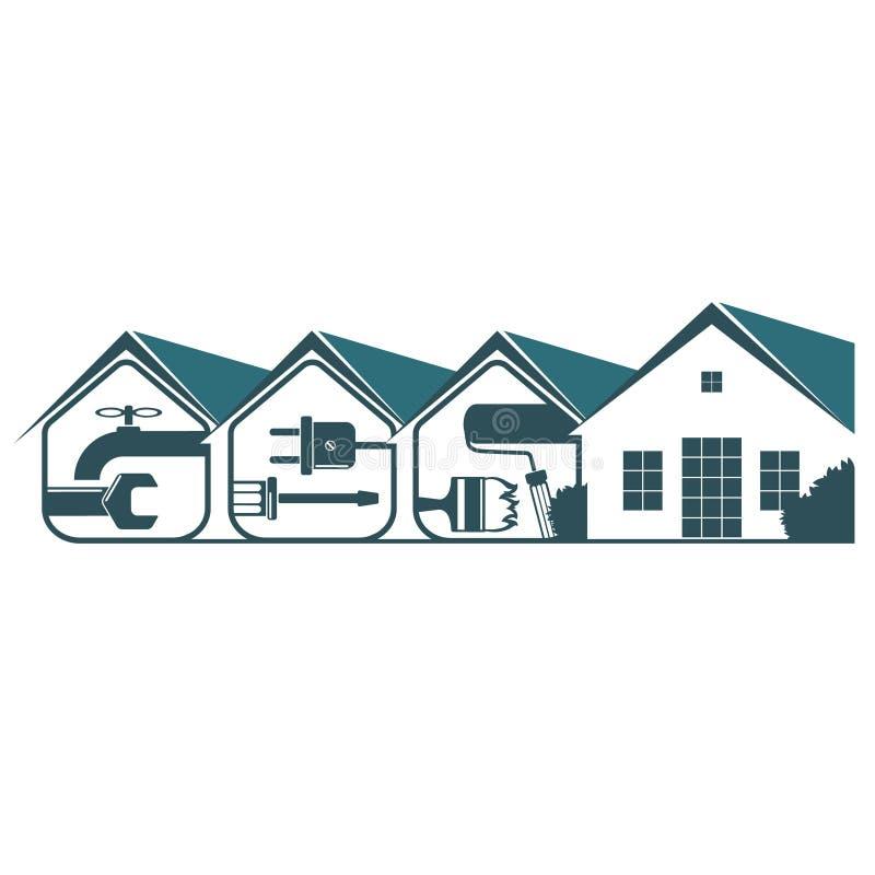 Preste serviços de manutenção em casa ao projeto ilustração stock