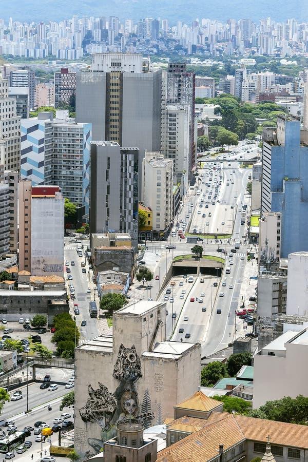 Prestes Maia avenue, Sao Paulo SP Brazil. Sao Paulo SP, Brazil - November 22, 2019: Aerial view of the Prestes Maia avenue at the historic downtown of Sao Paulo royalty free stock image