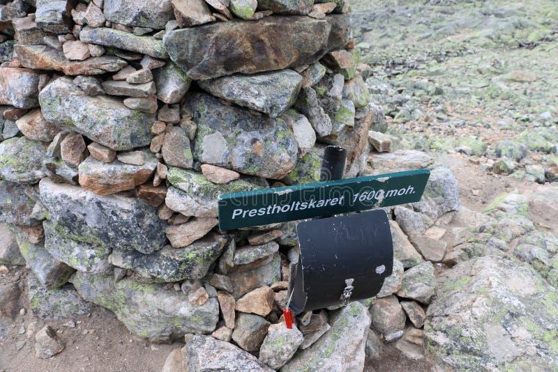 Prestholtskarvet i Norge på 1863 meter höjd fotografering för bildbyråer