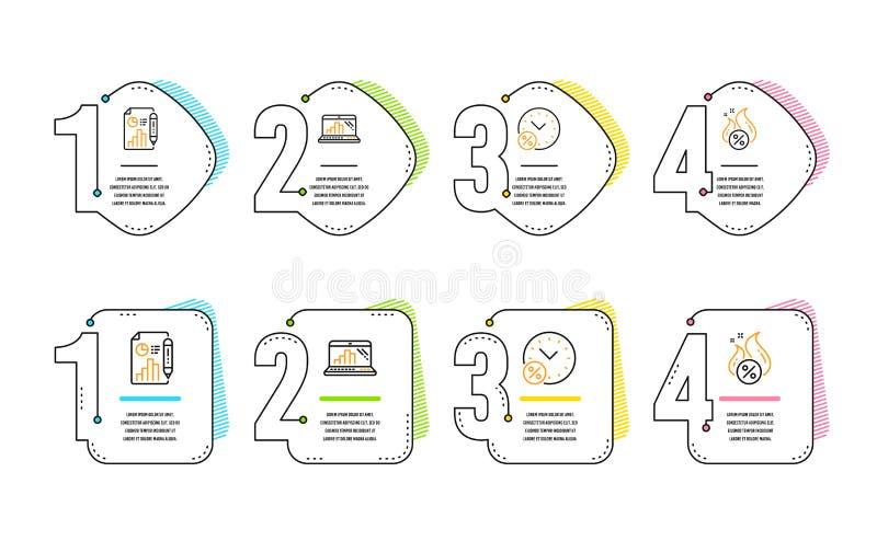 Presti le percentuali, il documento di rapporto ed insieme delle icone del computer portatile del grafico Segno caldo di prestito illustrazione di stock