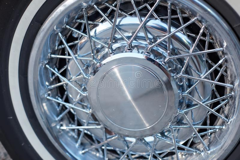Prestige ally wheels on a vintage classic car stock images