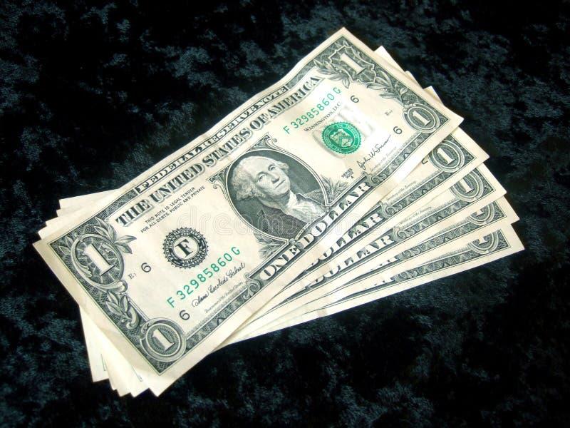 Prestige de billet d'un dollar de 5 Américains images stock