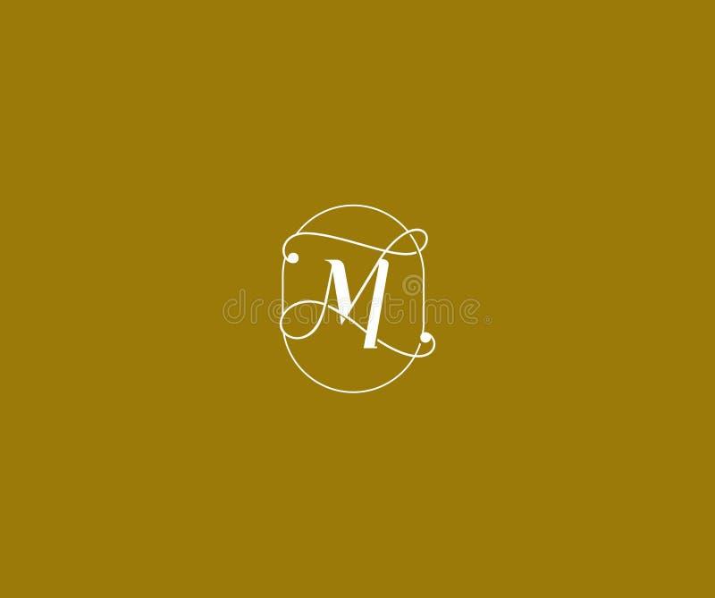 Prestigelinje logotyp för M Letter Linked Minimalist för emblememblemmonogram vektor illustrationer