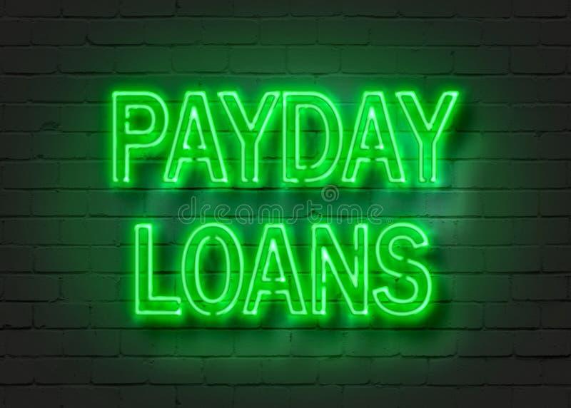 Prestiti di giorno di paga, insegna al neon sul muro di mattoni illustrazione di stock
