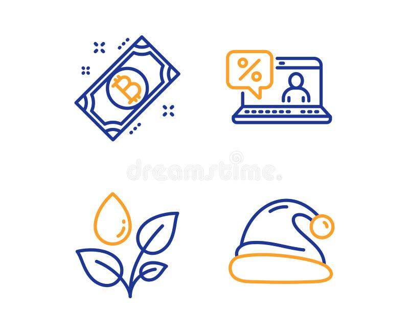 Prestito online, piante che innaffiano ed insieme delle icone di Bitcoin Segno del cappello di Santa Vettore illustrazione di stock