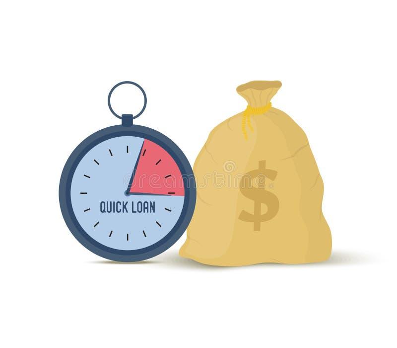 Prestito rapido di vettore - borsa dei soldi e dell'orologio immagine stock
