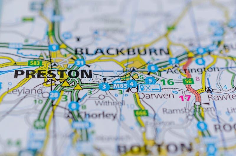 Preston en mapa fotos de archivo