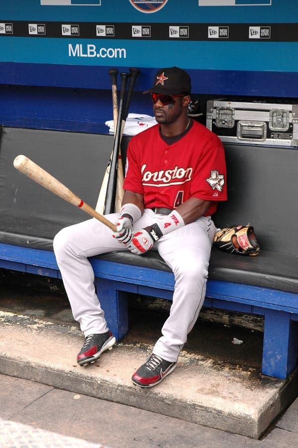 Preston Wilson Houston Astros. Houston Astros outfield Preston Wilson sitting in his dugout royalty free stock photos