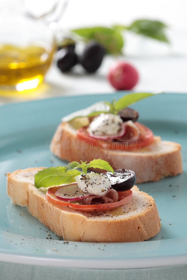 Presunto de Parma e queijo branco fotografia de stock royalty free
