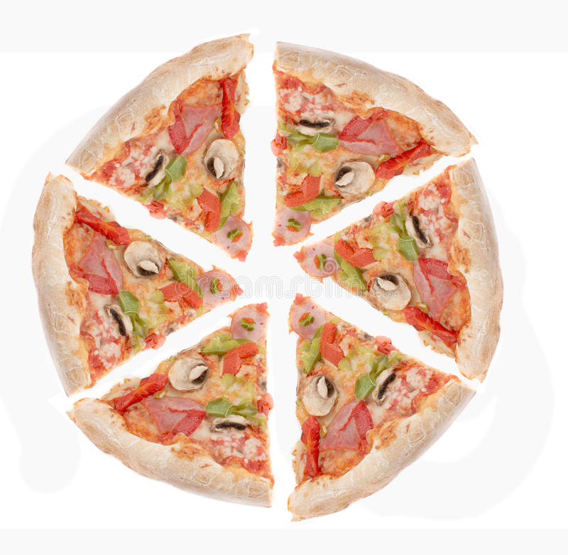 Presunto, e fatias da pizza da pimenta fotografia de stock royalty free