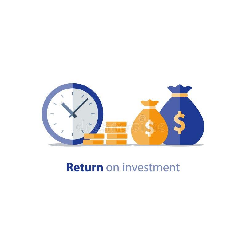 Presupueste el planeamiento, el tiempo es oro, concepto de los costos, informe de la contabilidad, crecimiento de la renta, aumen stock de ilustración