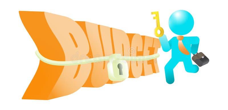 Presupuesto de Loosen Up Tight del hombre de negocios con llave ilustración del vector