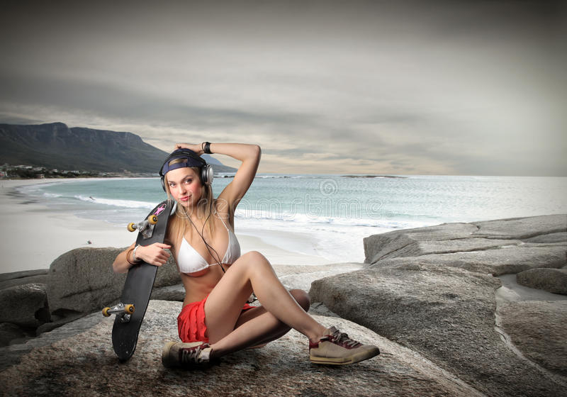 Pret bij het strand royalty-vrije stock afbeelding