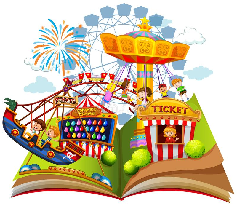 Pret Carnaval binnen pop omhooggaand boek royalty-vrije illustratie