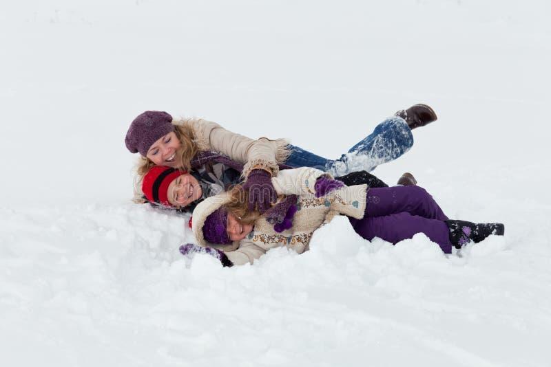 Pret in de sneeuw stock foto's