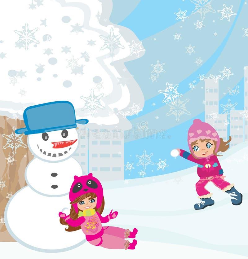 Pret in de Sneeuw vector illustratie