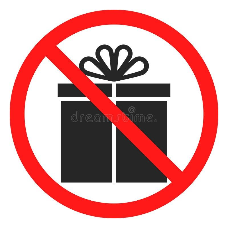 Pret geen pictogram van de giftdoos stock illustratie
