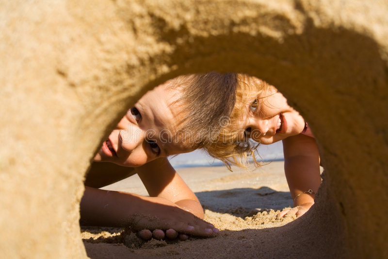 Pret in het zand royalty-vrije stock foto