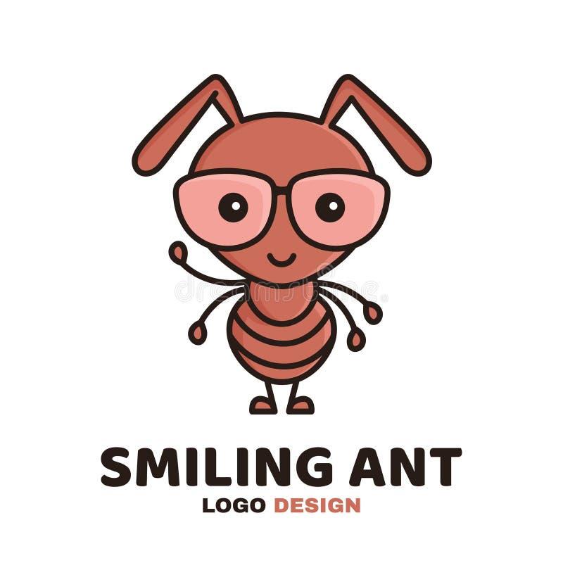 Pret leuke het glimlachen slimme mier in glazen stock illustratie