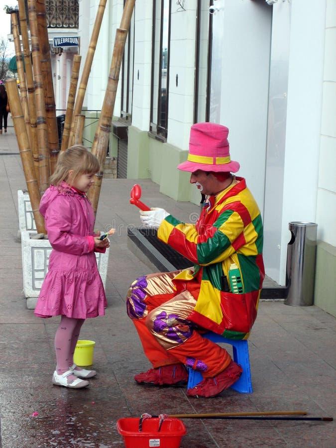 Pret met clown royalty-vrije stock foto