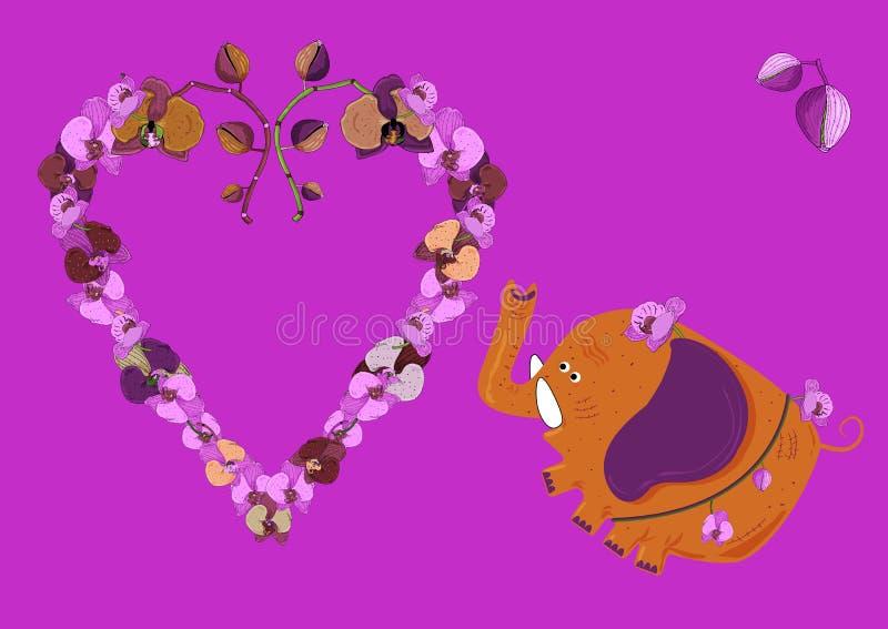 Pret oranje olifant in een riem met orchideeën en een hart van bloemen op roze achtergrond vector illustratie