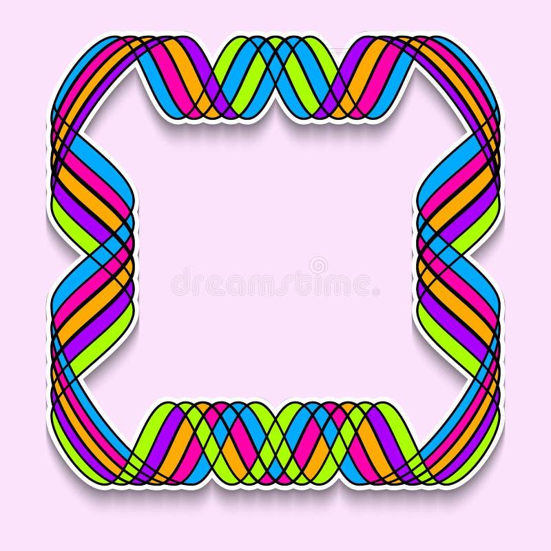 Pret vierkant kader in vorm van de band van het regenboogmozaïek Malplaatje van Webbanner, verkoop of korting, de vlieger van de  stock illustratie