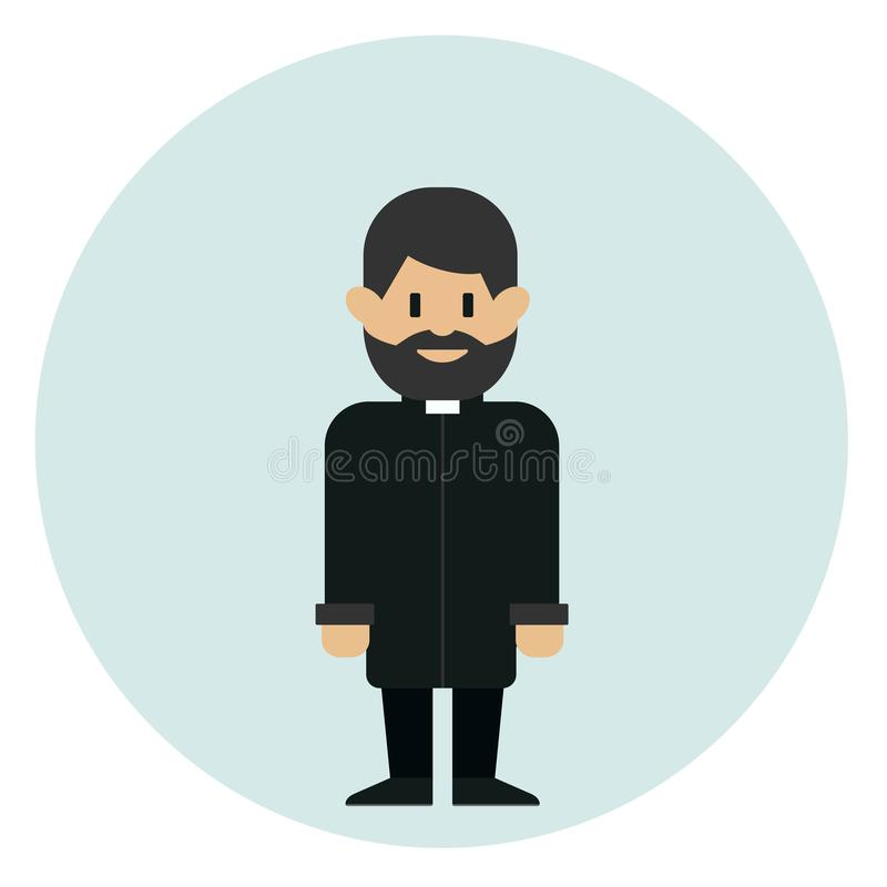Prete cattolico che sta sul fondo blu Concetto della chiesa cattolica illustrazione vettoriale