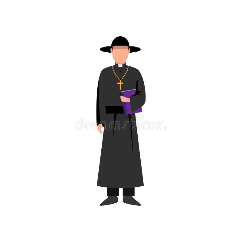 Prete cattolico con il libro della bibbia e black hat a disposizione illustrazione di stock
