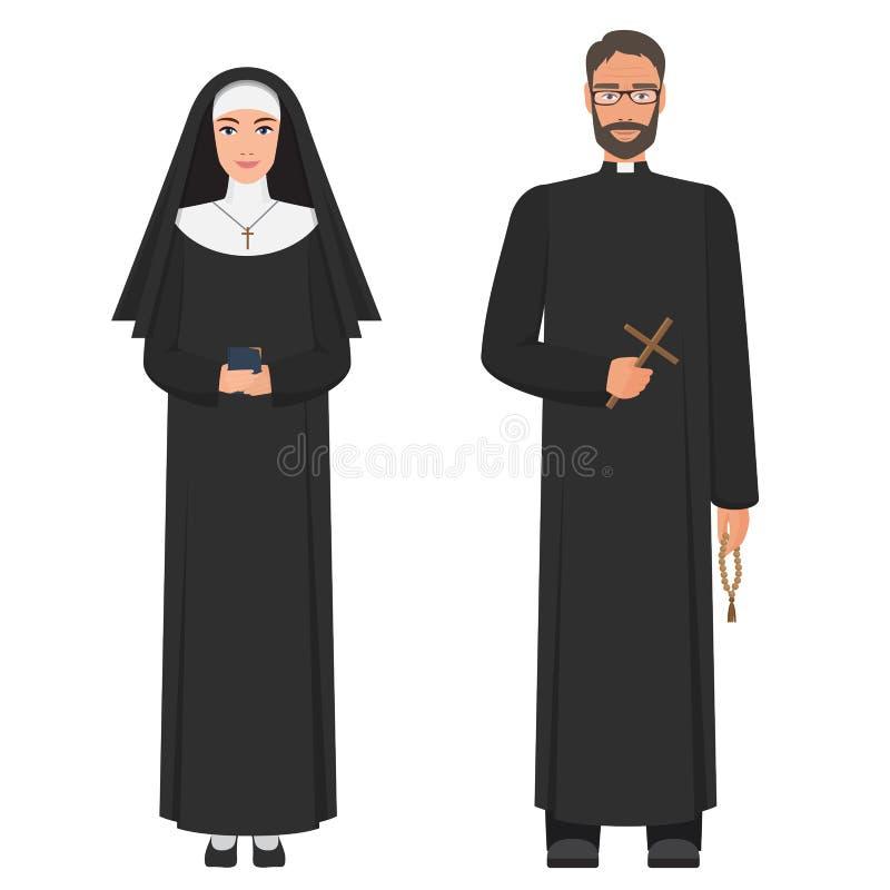 Prete cattolico e suora Illustrazione piana di vettore del fumetto illustrazione vettoriale