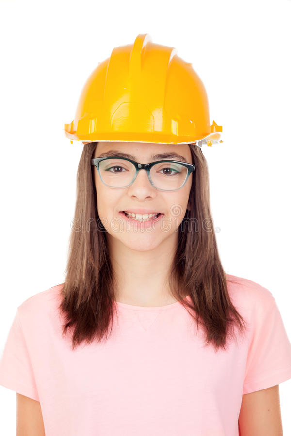 Preteen com capacete da construção fotografia de stock